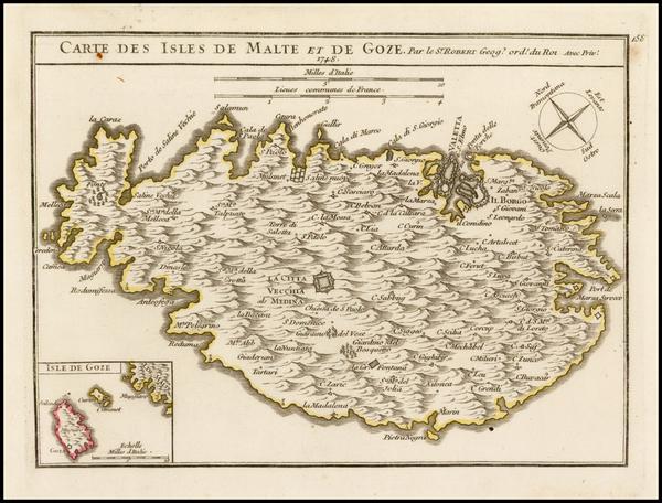38-Malta Map By Gilles Robert de Vaugondy