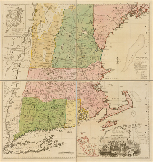17-New England, Connecticut, Maine, Massachusetts, New Hampshire, Rhode Island and Vermont Map By