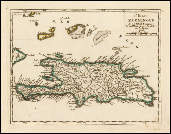 83-Caribbean and Hispaniola Map By Gilles Robert de Vaugondy