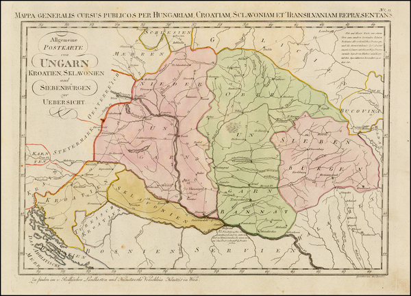 94-Hungary, Romania, Balkans, Croatia & Slovenia and Serbia Map By Franz Johann Joseph von Rei
