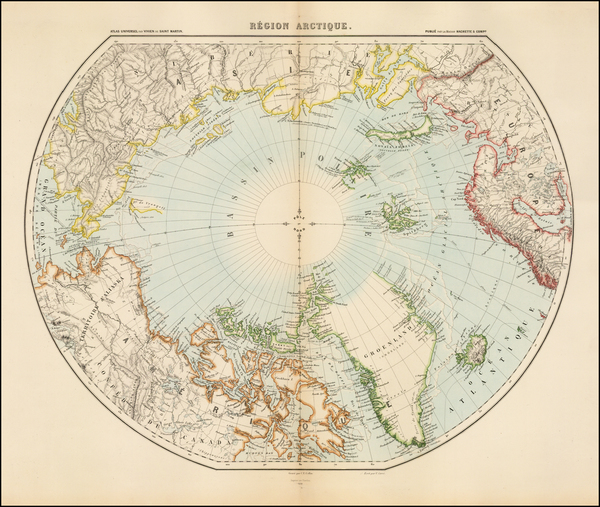 19-Polar Maps and Canada Map By Louis Vivien de Saint-Martin
