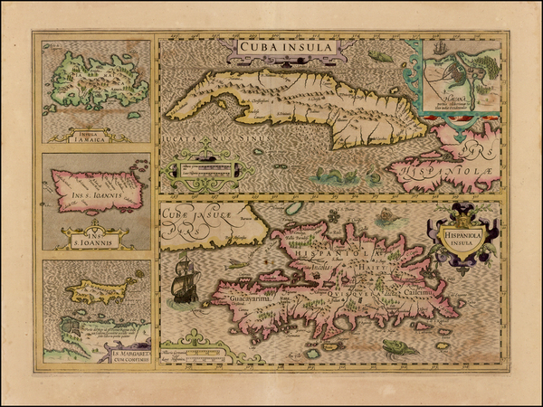 1-Cuba, Jamaica, Hispaniola and Virgin Islands Map By Jodocus Hondius - Mercator