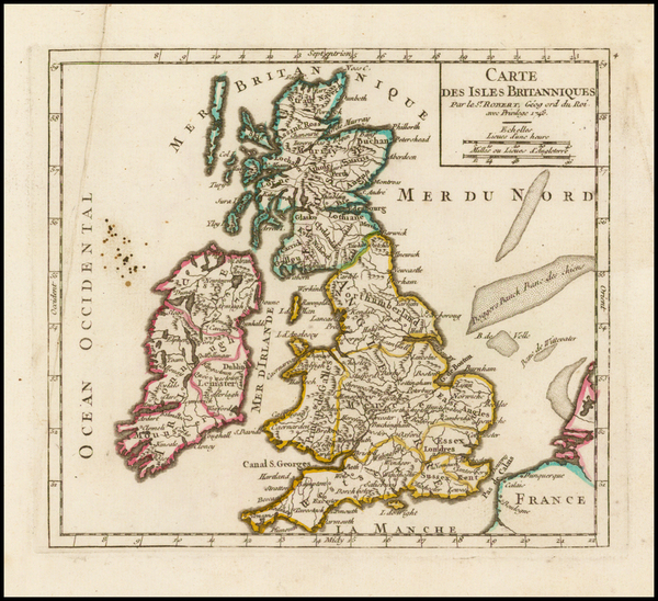 83-British Isles Map By Gilles Robert de Vaugondy