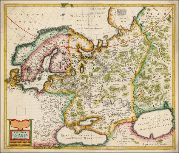 29-Russia, Ukraine, Scandinavia and Russia in Asia Map By Henricus Hondius