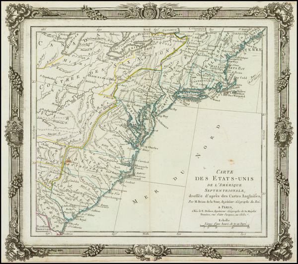 34-United States Map By Louis Brion de la Tour