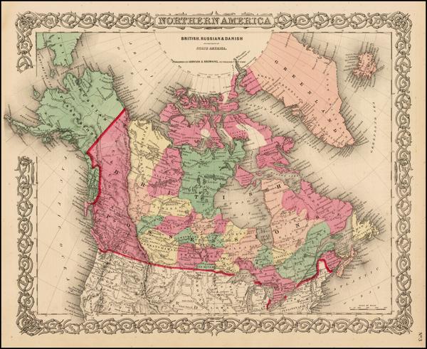 68-Alaska and Canada Map By Joseph Hutchins Colton
