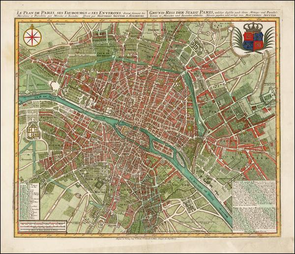 53-France and Paris Map By Matthaus Seutter