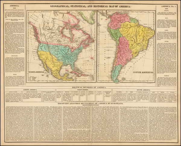 37-North America, South America and America Map By Henry Charles Carey  &  Isaac Lea