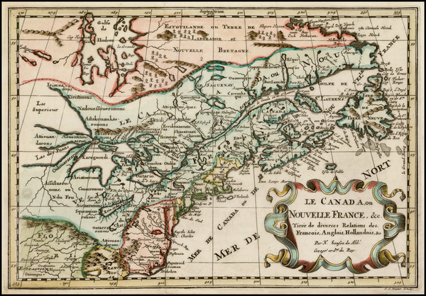 11-New England, Midwest and Canada Map By Nicolas Sanson