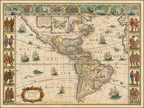 80-North America, South America and America Map By Willem Janszoon Blaeu