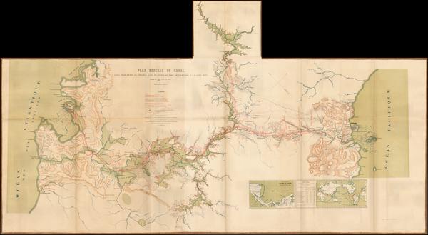 31-Central America Map By Compagnie Nouvelle du Canal de Panama
