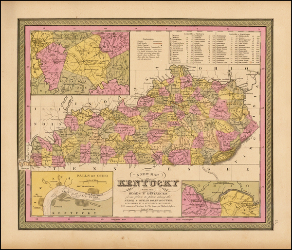67-South and Kentucky Map By Samuel Augustus Mitchell