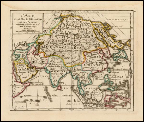 Asia and Asia Map By Gilles Robert de Vaugondy