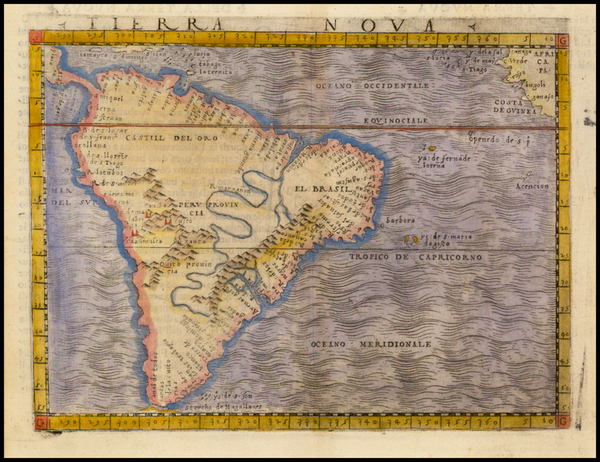 39-South America Map By Giacomo Gastaldi