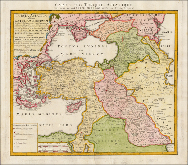 50-Turkey, Middle East and Turkey & Asia Minor Map By Homann Heirs