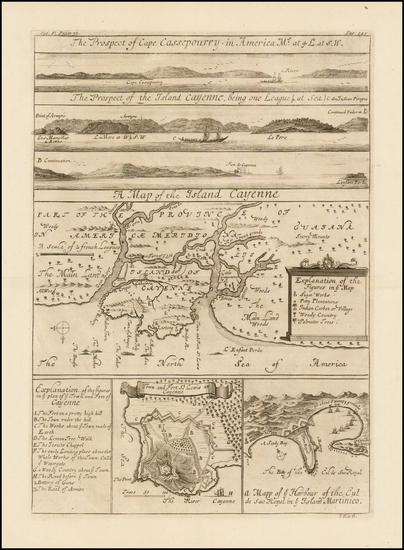 38-Caribbean, Other Islands, South America and Martinique Map By Johannes Kip