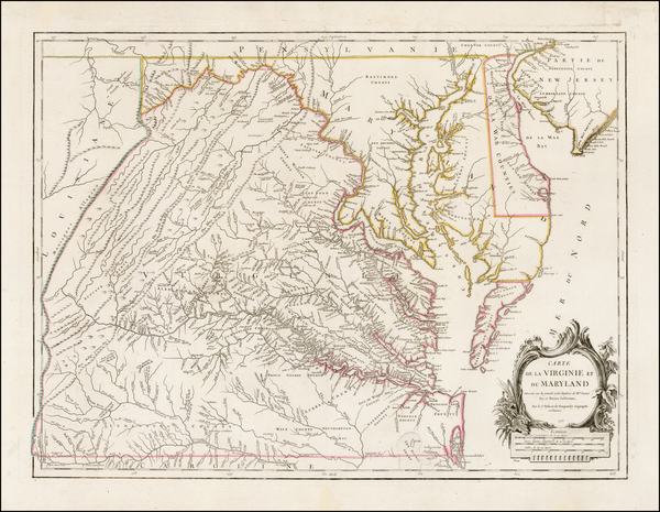 54-Mid-Atlantic, Delaware, Southeast and Virginia Map By Gilles Robert de Vaugondy