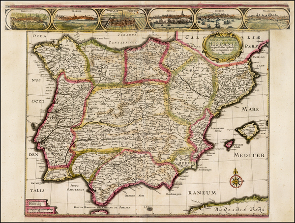 Spain and Portugal Map By Cornelis II Danckerts
