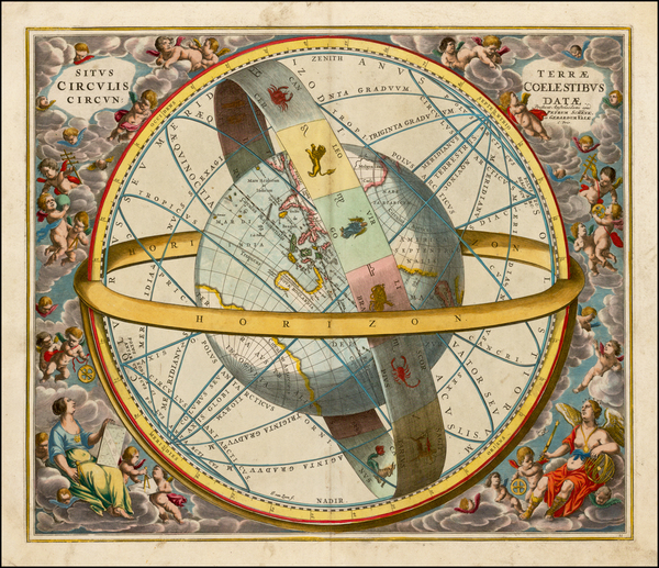 72-Pacific, Australia, California and Celestial Maps Map By Andreas Cellarius