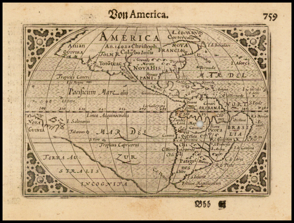 85-South America and America Map By Pieter Bertius