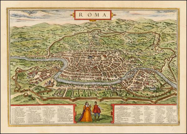 6-Italy Map By Georg Braun  &  Frans Hogenberg