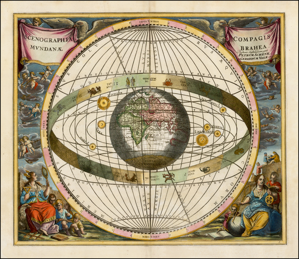 71-World, Eastern Hemisphere, Curiosities and Celestial Maps Map By Andreas Cellarius  &  Gera