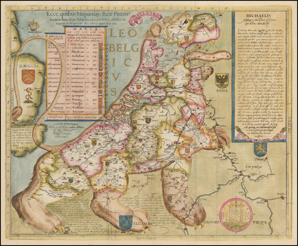 53-Netherlands and Curiosities Map By Michael Aitzinger