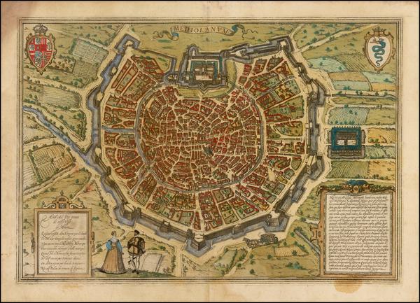 60-Italy Map By Georg Braun  &  Frans Hogenberg