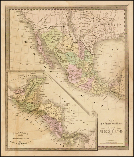 54-Texas, Southwest, Central America and California Map By Jeremiah Greenleaf