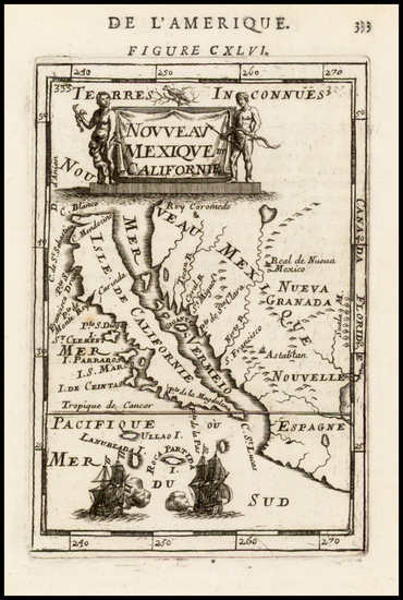 49-Baja California and California Map By Alain Manesson Mallet