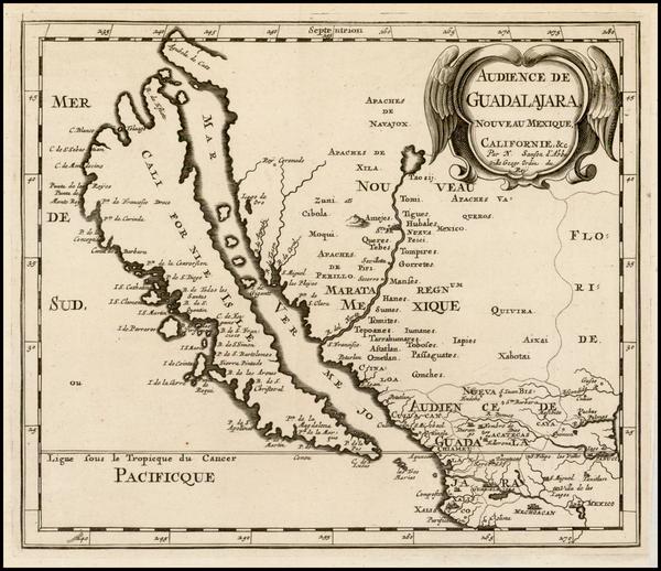 44-Southwest, Mexico, Baja California and California Map By Nicolas Sanson