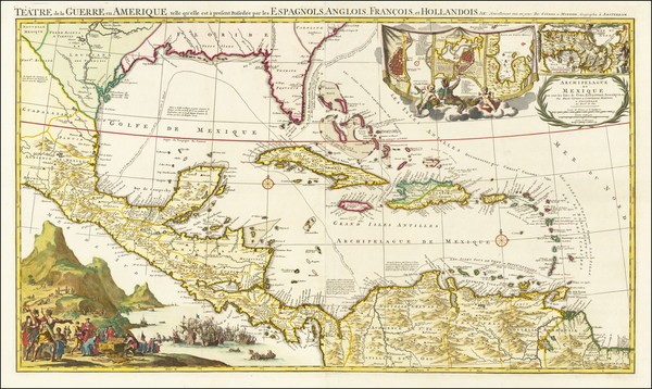 40-Florida, South, Southeast, Caribbean and Central America Map By Johannes Covens  &  Pieter