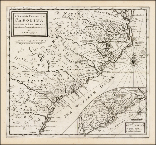 13-Southeast, North Carolina and South Carolina Map By Herman Moll