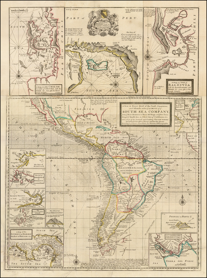 34-Central America, South America, California and America Map By Herman Moll