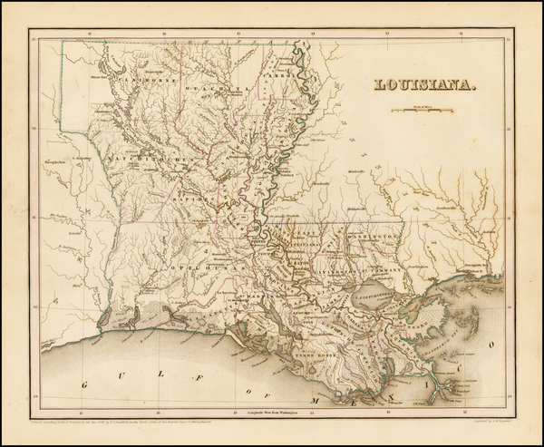 32-South and Louisiana Map By Thomas Gamaliel Bradford
