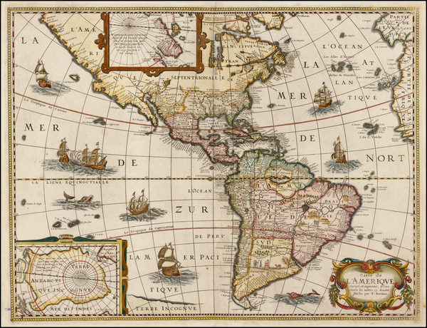 47-South America and America Map By Melchior Tavernier / Petrus Bertius