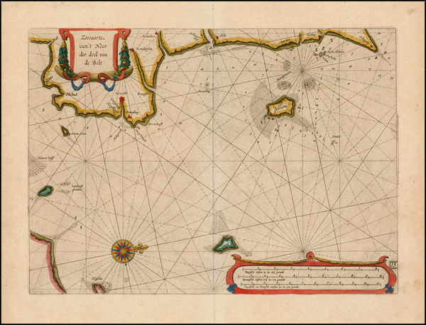 69-Denmark Map By Willem Janszoon Blaeu