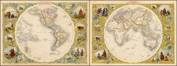 2-World, Eastern Hemisphere, Western Hemisphere, South America and America Map By John Tallis