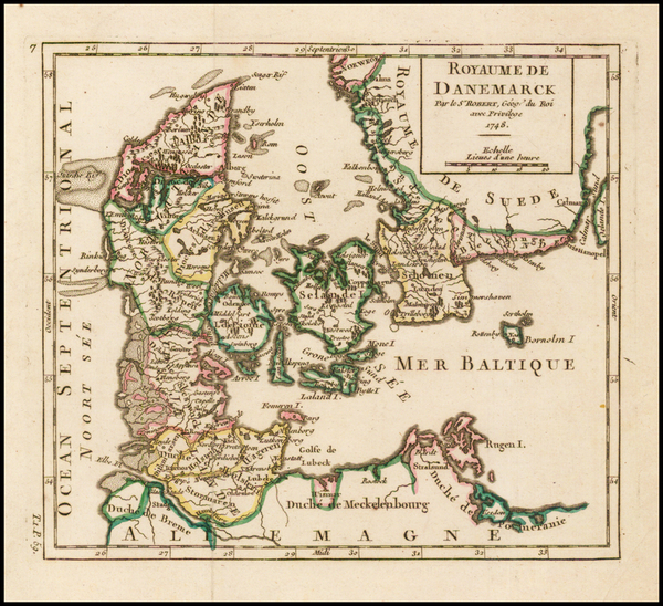 Denmark Map By Gilles Robert de Vaugondy