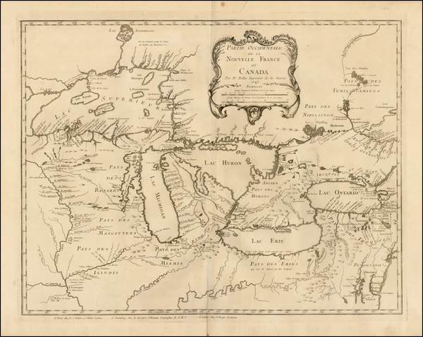 Midwest, Illinois, Ohio, Michigan, Wisconsin and Canada Map By Jacques Nicolas Bellin