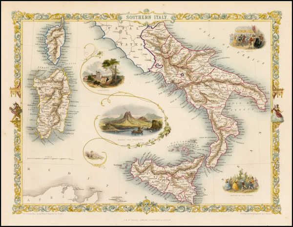 2-Italy and Balearic Islands Map By John Tallis
