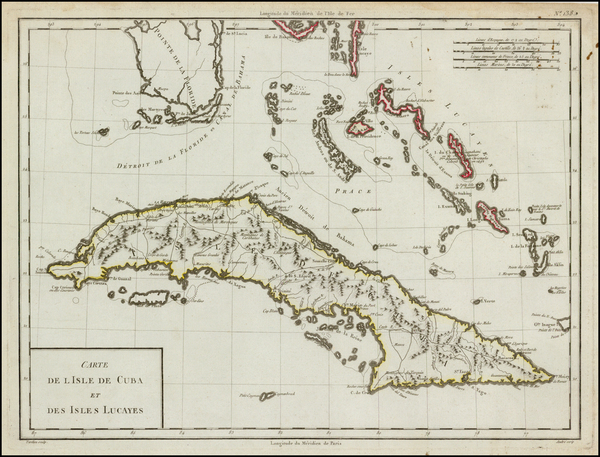 22-Florida and Caribbean Map By Pierre Antoine Tardieu