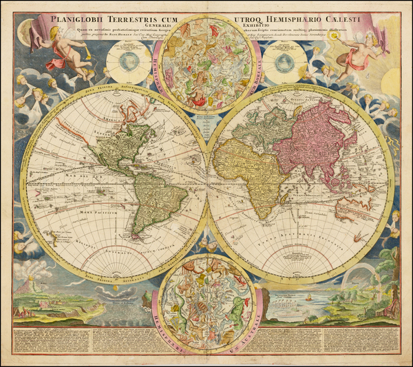 40-World, World and Celestial Maps Map By Johann Baptist Homann
