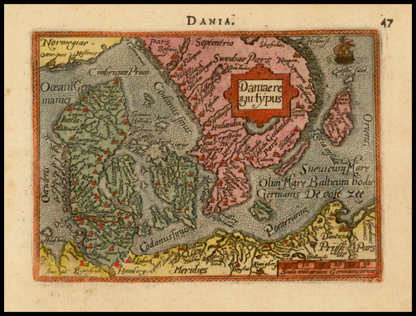 97-Scandinavia and Denmark Map By Abraham Ortelius