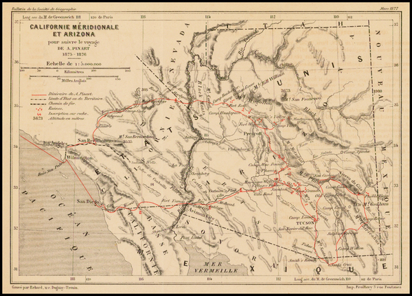 Southwest and California Map By Alphonse Louis Pinart