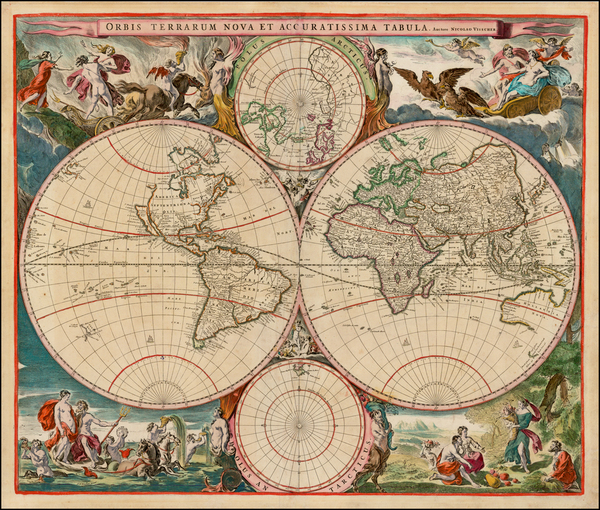73-World and World Map By Nicolaes Visscher I