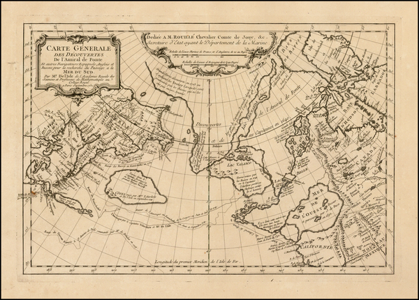56-Polar Maps, Alaska, Canada and Russia in Asia Map By Joseph Nicholas de L'Isle