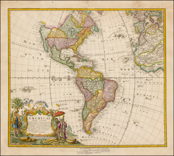 34-Western Hemisphere, South America and America Map By Homann Heirs / Johann Matthaus Haas