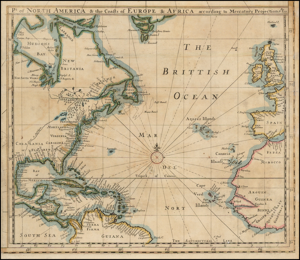 Atlantic Ocean, United States, Mid-Atlantic, South, Southeast and North America Map By Philip Lea