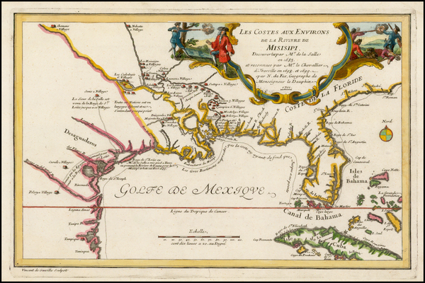 27-South, Southeast, Texas, Midwest and Southwest Map By Nicolas de Fer